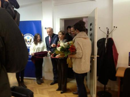 kosovo ambassador cutting ribbon